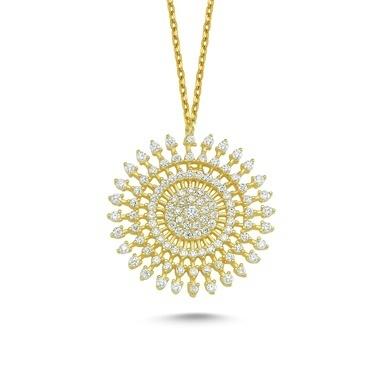 Online Takı Beyaz Taşlı Yuvarlak Gümüş Kolye Renkli